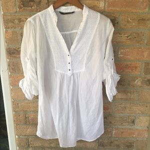 Zara TRF Collection White Tunic Blouse Top Size M